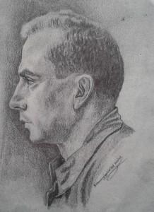 Retrato de José María García Hernández, realizado en el frente, y firmado por su compañero Belaustegigoitia'tar Xabier.