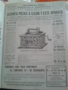 Publicidad del gramófono n 'Homokord', la maravilla de reproducción sonora del momento.