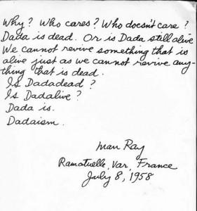 Notas manuscritas de Man Ray sobre Dada.